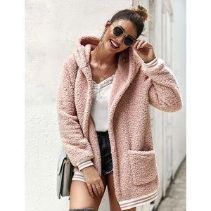 Pink teddy coat jacket stripe hooded